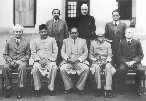 Dr. B R Ambedkar along with his Drafting Committee
