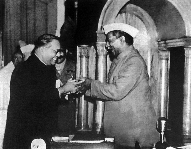B R Ambedkar submitting the Constitution to Dr. Rajendra Prasad.