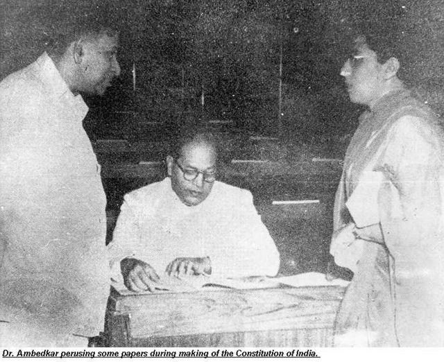 Dr. B R Ambedkar during the making of the Constitution of India