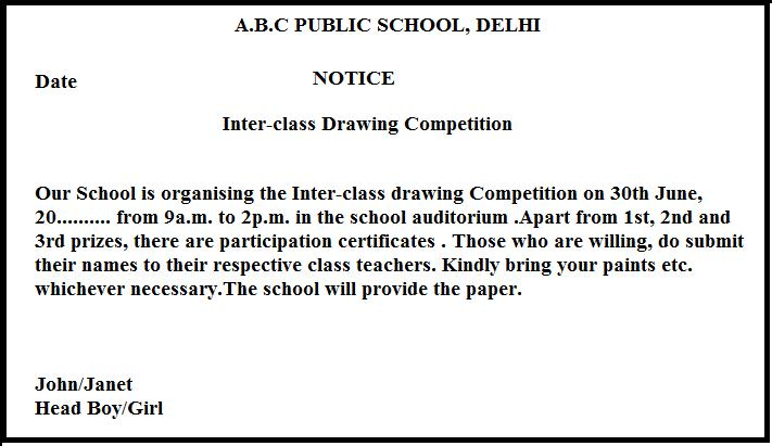 Notice1g inter class drawing competition draft a notice in not more than 50 words mentioning the details of the competition and inviting the participants stopboris Choice Image